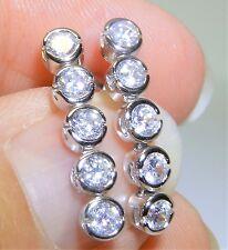 DIAMOND  DROPPER  STUD EARRINGS ARTICULATED STERLING SILVER 925