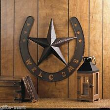 Rustic WELCOME Star HORSESHOE country cowboy horse METAL Wall art outdoor Plaque