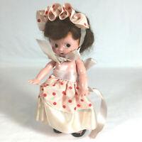 "Knickerbocker kewpie doll hard plastic 6"" pink dress Valentine brunette HH3"