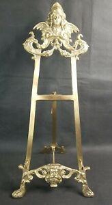 """VTG Large Solid Brass easel Display Bolder Picture Plate Ornate Face 18"""" Angel"""