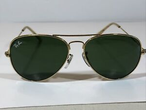 Vintage Ray-Ban Aviator Sunglasses RB3026 58mm W3277 58:14 Gold Frame Green Lens