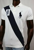 Mens POLO Ralph Lauren Mesh White Polo Navy BIG PONY~ NWT