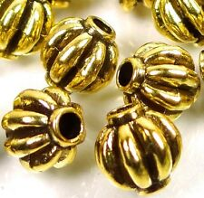 25 Antique Gold Pewter Melon Spacer 7mm Beads ~ Lead-Free ~