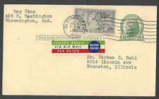1950 PC UX27 UPRATED TO PAY 4c AIR MAIL RATE HAS LABEL ETIQUETTE IN 3 SEE INFO