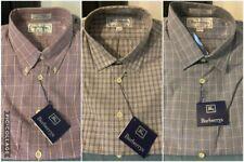 BURBERRYS of LONDON Men's 100% Cotton LS DRESS SHIRTS-15.5/34-Blue or Red Checks