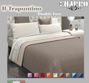 Copriletto Trapuntino Charro Double Face Tinta Unita Singolo Matrimoniale 1,5P.