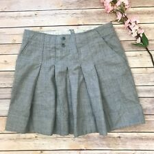 Anthropologie Elevenses Gray Pleated Wool Skirt Size 10