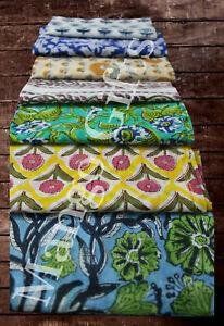 Indian Hand Block Print 100%Cotton Voile Fabric Napkins Set 24 Pc Floral Assort