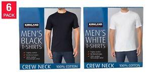 Kirkland Men Crew Neck Cotton TShirt 6-pack, BLACK or WHITE, S-3XL, NEW