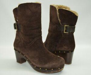 UGG Amoret Brown Suede Clog Boots Fur Cuf Heeled Boots Size 7 1003373