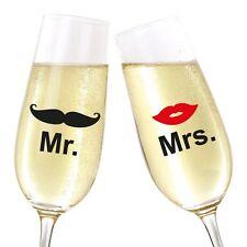 Glasaufkleber - Hochzeitsgeschenk Mr & Mrs Sektglas Hochzeit Geschenkidee Glas