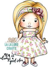 New La La Land Crafts AFTERNOON TEA MARCI Cling Rubber Stamp Girl Flower Spring