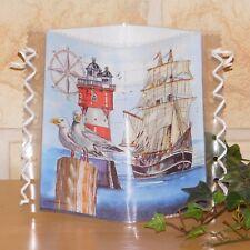 Tischlicht/Windlicht  - Schiff auf See - Möwen - Leuchtturm - Maritim