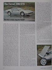 1976 Ferrari 308 GTB Original Motor Sport magazine Road test
