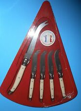 NEW (5) LAGUIOLE STAINLESS CHEESE SERVICE KNIFE SET WHITE HANDLE WOOD BOX FRANCE