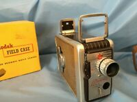 Vintage Kodak Brownie 8mm Movie Camera with leather case and instructions