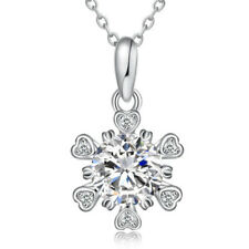 Sterling Silver Heart Fancy Love Pendant Crystal Cubic Zirconia Necklace Chain