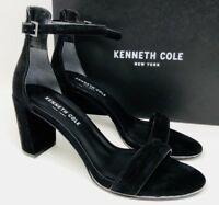 Kenneth Cole New York Women's Lex Ankle Strap Sandal Size 8 Black Suede