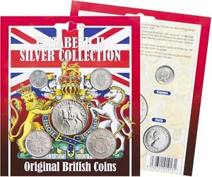 ELIZABETH II SILVER COLLECTION Coins x5 Presentation Pack Queen 1953+ Half Crown