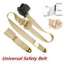 3 Point Beige Car Front Seat Belt Buckle Automatic Retractable Safety Strap Nice