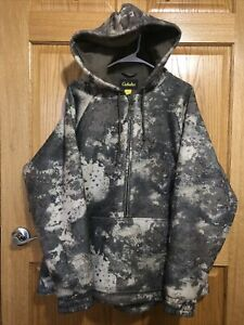 Cabela's Wooltimate O2 Octane Camo 4Most WindShear Hooded Pullover Jacket Large