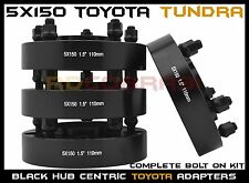 """4 Pc Black 1.5"""" Toyota Tundra 5x150 Hub Centric Wheel Spacers Adapters USA Made"""