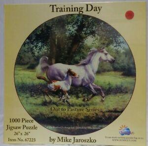 New 1000 Piece Jigsaw Puzzle SunsOut Training Day Horses New Sealed