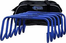 New! SIX 9 Inch blue Hurdles with bag agility speed football soccer lacrosse