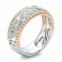 Full Eternity 2 Row Crystals Rose Gold Plated Titanium Steel White Ceramic Ring