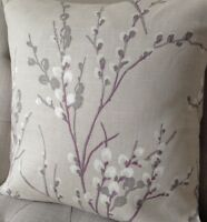 "16"" Laura Ashley Pussy Willow cushion cover in Natural, Austen back"