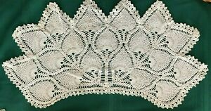 "Large Pineapple Long 19"" x 10"" hand crochet white vintage doily. 1940-1960"
