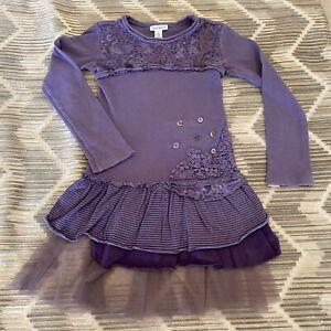 Naartjie Dress Ruffles Purple Buttons Long Sleeves Girls Size 7 Years