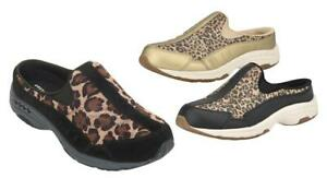 EASY SPIRIT Travel Time Suede and Leopard Print Sneaker Clogs, Med, Wide & XW