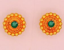 GREEN CZ HANDMADE 22 K YELLOW GOLD STUD EARRING BEAUTIFUL VINTAGE ANTIQUE STUD