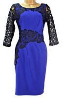 Lipsy Bodycon Dress 10 Navy 3/4 Sleeve Crochet Lace Sexy flattering Ruched Xmas