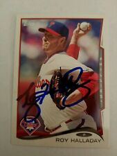 Roy Halladay signed 2014 Topps Card - last Topps card of HOF auto autograph #565