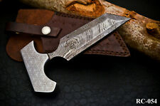ROYAL FORGED DAMASCUS STEEL 3D ENGRAVED WHEEL 3 EDGE TANTO HUNTING EDC KNIFE -54
