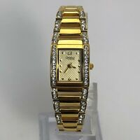 Caravelle by Bulova Womens 45L95 Gold Tone Crystal Accents Analog Wristwatch