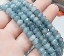 AAA 5x8mm Faceted Natural Brazilian Aquamarine Gemstone Rondelle Loose Beads 15""