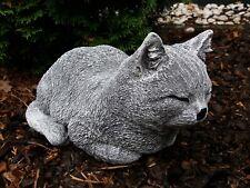 Steinfigur große Katze schlafend ruhend Frostfest Steinguss Garten Deko Haustier