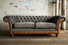 MODERN SLATE GREY VELVET VINTAGE ANTIQUE TAN LEATHER 3 SEATER CHESTERFIELD SOFA