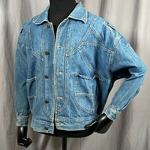 Oakbrook Pleated Accents Men's 2XL Denim Jean Jacket Coat Shoulder Pockets Vtg