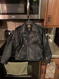 Harley Davidson Youth Classic Black Leather Biker Style Riding Jacket 2XL EUC