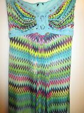 Sky Brand L Maxi Dress Bright Chevron Pattern Turquoise Rainbow Knit Crochet