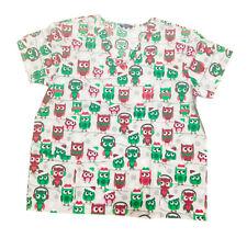 Womens Fashion Medical Nursing Scrub Tops Gray base red green owls 2XL