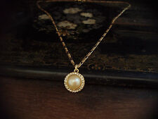 Vintage Round Pearl and Crystal Gold Plated Pendant on a Figaro Chain