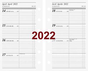Rido Kalendarium 2022 1Wo=2S. Multilochung 7,6x12,7 Kalender 2022 Timer Einlage