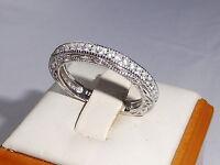 Damen punziert 925 Sterling Silber massiv Weiß Saphir voller Ewigkeit Ring
