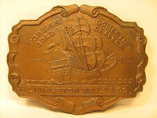 Vintage BRASS Belt Buckle LIVINGSTON WELLS & CO London & Paris AUSTRALIA [Y95e]