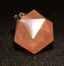 PENDENTIF Icosaedre Solide de PLaton En Quartz Rose